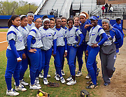 Hampton University Lady Pirates pose before their doubleheader split against Morgan State University at the Lady Pirates Softball Complex on the campus of Hampton University in Hampton, Virginia.  (Photo by Mark W. Sutton)