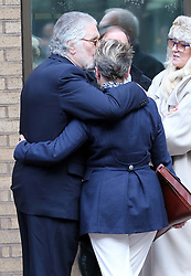 Dave Lee Travis kisses his wife Marianne Griffin outside Southwark Crown Court in London after the jury retired to consider it's verdict , Monday, 10th February 2014. Picture by Stephen Lock / i-Images