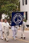 Members of the South Carolina Society march down Meeting Street to celebrate Carolina Day June 28, 2014 in Charleston, SC. Carolina Day celebrates the 238th anniversary of the American victory at the Battle of Sullivan's Island over the Royal Navy and the British Army.