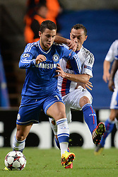 LONDON, ENGLAND - September 18: Chelsea's Oscar is fouled by Basel's Marcelo Díaz  during the UEFA Champions League Group E match between Chelsea from England and Basel from Switzerland played at Stamford Bridge, on September 18, 2013 in London, England. (Photo by Mitchell Gunn/ESPA)