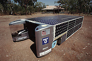 Chisholm Institute's Solar Car #12, parked by the Mataranka Homestead, Northern Territories, Australia. Pentax Solar Car Race the first international solar-powered car race. The event began in Darwin, Northern Territories on November 1st, 1987 and finished in Adelaide, South Australia completing 1,950 miles.