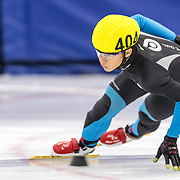 December 17, 2016 - Kearns, UT - Arthur Cheung skates during US Speedskating Short Track Junior Nationals and Winter Challenge Short Track Speed Skating competition at the Utah Olympic Oval.