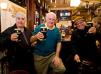 Pictured enjoying a premiere of the new Guinness advertisement, This is Rugby Country, which aired at an special viewing at E Brun, Dominick St, Galway, are Tommy Curran, Shantalla, Pat Murray Eyre Sq. And Liam Bowes, Dominick St. . Guinness enjoys a long standing relationship with Irish rugby and has been a partner of the IRFU for over 20 years. The new advertisement features real people - not actors or models - and this is one of the key ingredients to the campaign.. Photo:Andrew Downes.