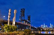 Blue Hour, Portland Waterfront, Portland, Oregon.