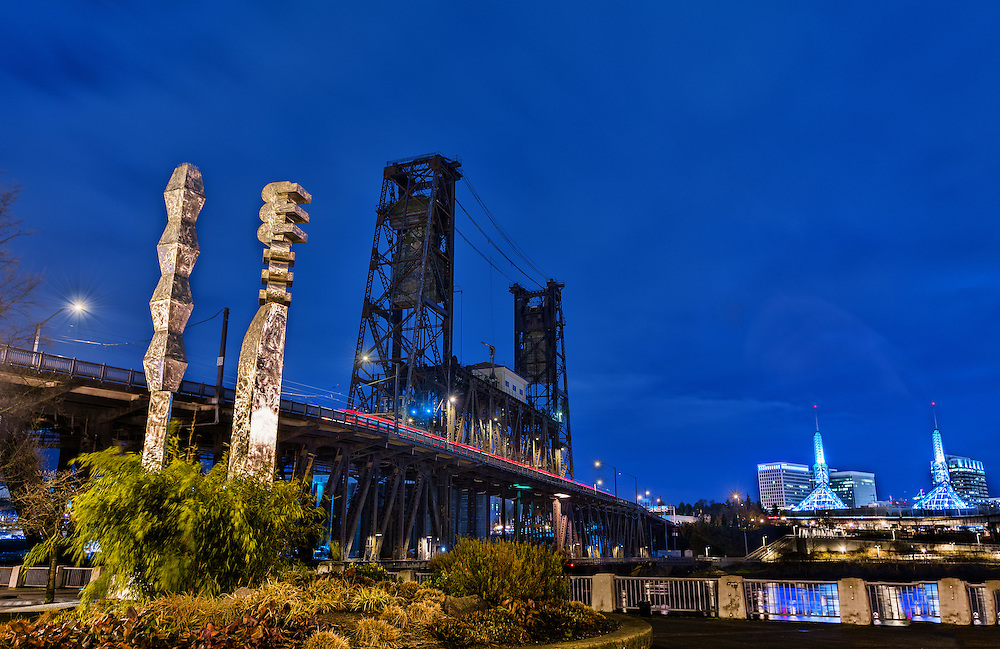 Blue Hour, Portland Waterfront, Portland, Oregon.