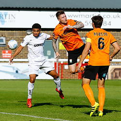 Barnets defender Elliot Johnson and Dovers forward Jamie Allen clash over the ball during the National League match between Dover Athletic and Barnet FC at Crabble Stadium, Kent on 1 September 2018. Photo by Matt Bristow.