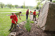 (from left) Ethan Lethander, Jonathan Thomas; Eric Bowser, Sebastian Walling, Brian Daigle and Andy Bowser during a cleanup of the Victory Oak Knoll Memorial near the entrance of Dayton's Community Golf Course (at the edge of Kettering) by Boy Scout Troop 193, Saturday, May 7, 2011.