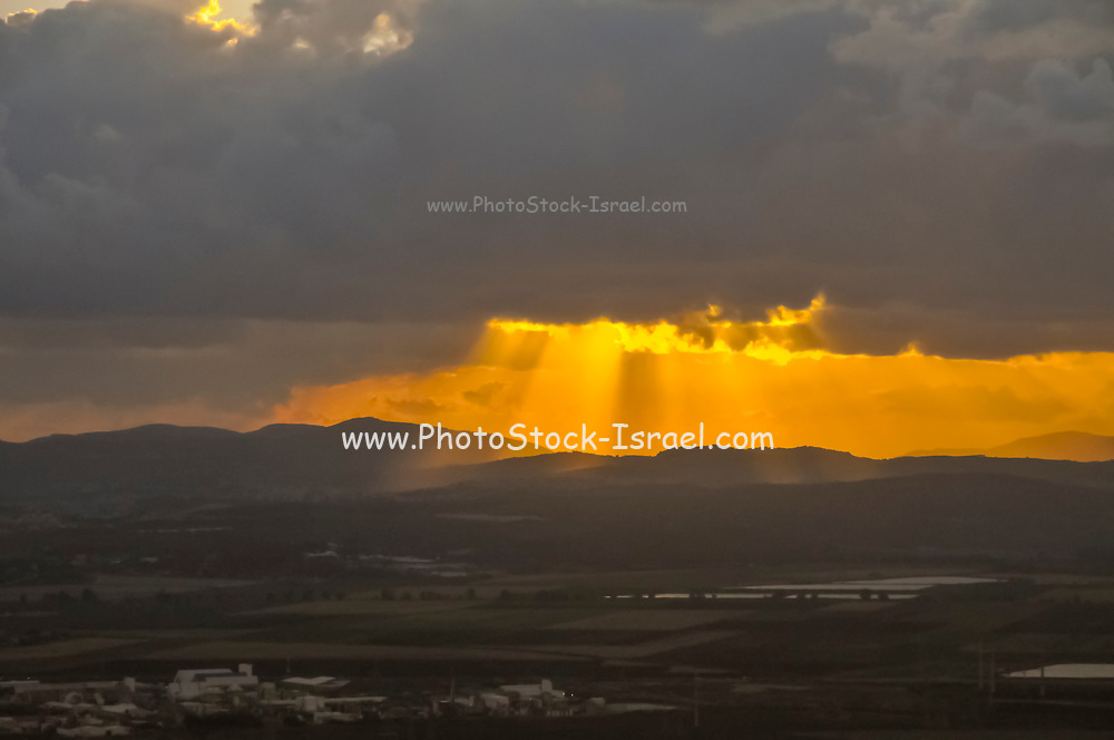Sunset through storm clouds. Photographed in Israel in April