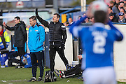 Forest Green Rovers manager, Mark Cooper gives instructions during the FA Trophy match between Macclesfield Town and Forest Green Rovers at Moss Rose, Macclesfield, United Kingdom on 4 February 2017. Photo by Shane Healey.