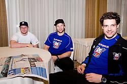 Jakob Milovanovic, Jan Mursak and Mitja Sivic at Mitja Sivic's and Marcel Rodman's anniversary of playing for Slovenian National Team for 100 times, during IIHF WC Div. I B 2010 in Ljubljana, on April 22, 2010, Hotel Lev, Ljubljana, Slovenija. (Photo by Matic Klansek Velej / Sportida)