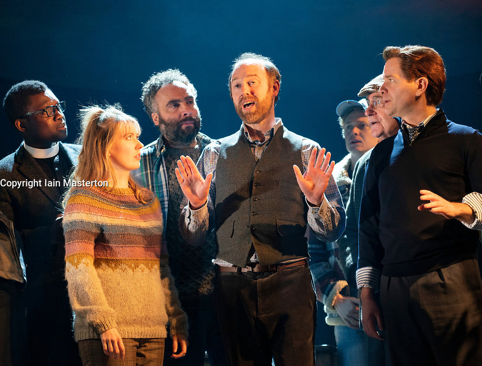 Edinburgh, Scotland, UK. 13 March, 2019.  Photo call of World Premiere of Local Hero stage adaptation at Royal Lyceum Theatre in Edinburgh. Musical adaptation written by Bill Forsyth and David Grieg with new music by Mark Knopfler, directed by John Crowley. Pictured; - Editorial Use Only