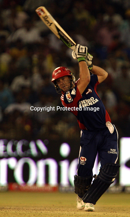 Delhi Daredevils Batsman AB de Villiers Play A Shot Against Deccan Chargers Batsman During The Indian Premier League - 15th match Twenty20 match 2009/10 season Played at Barabati Stadium, Cuttack 21 March 2010 - day/night