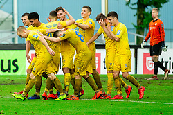 Players of Domzale celebrate after Matej Podlogar of Domzale scored during football match between NK Triglav Kranj and NK Domzale in 35th Round of Prva liga Telekom Slovenije 2018/19, on May 22nd, 2019, in Sports park Kranj, Slovenia. Photo by Vid Ponikvar / Sportida