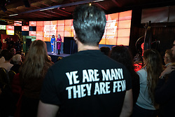"© Licensed to London News Pictures. 17/01/2020. Manchester, UK. A member of the audience wearing a "" Ye are many they are few "" t-shirt . Salford & Eccles MP Rebecca Long-Bailey launches her campaign to succeed Jeremy Corbyn in the race for Labour Party leadership , at an event in the Museum of Science and Industry in Manchester City Centre . Photo credit: Joel Goodman/LNP"