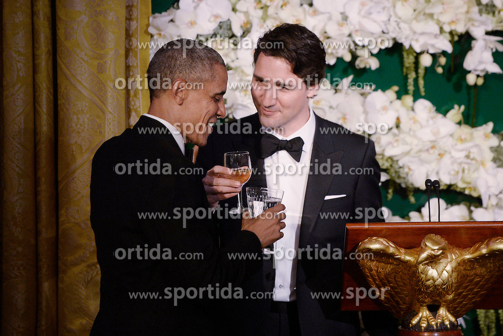 United States President Barack Obama and Prime Minister Justin Trudeau of Canada exchange toasts at the state dinner honoring the Prime Minister and Mrs. Sophie Gr&eacute;goire Trudeau at the White House March 10, 2016 in Washington, DC. EXPA Pictures &copy; 2016, PhotoCredit: EXPA/ Photoshot/ Olivier Douliery<br /> <br /> *****ATTENTION - for AUT, SLO, CRO, SRB, BIH, MAZ, SUI only*****