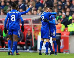 Riyad Mahrez of Leicester City celebrates after scoring his sides second goal (1-2) - Mandatory by-line: Paul Roberts/JMP - 04/11/2017 - FOOTBALL - Bet365 Stadium - Stoke-on-Trent, England - Stoke City v Leicester City - Premier League