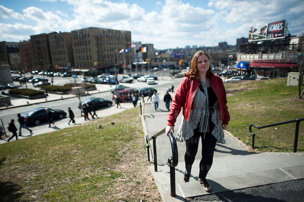March 13, 2013 - New York, NY : Shannon Lee Gilstad, who works at BronxWorks and lives in Bedford Park, poses for a portrait on the Grand Concourse near 161st Street on Wednesday afternoon. CREDIT: Karsten Moran for The New York Times