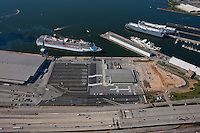 Aerial View of SLP and MD Cruise Terminal with Carnival Pride approaching