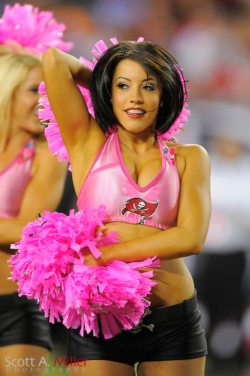 Tampa Bay Buccaneers cheerleaders wear pink during the Bucs 27-17 win over the Indianapolis Colts at Raymond James Stadium on Oct. 3, 2011 in Tampa, Fla. NFL teams are wearing pink to bring attention to Breast Cancer Awarness month...©2011 Scott A. Miller