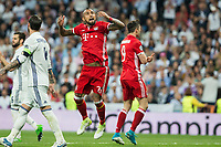 Arturo Vidal and Robert Lewandowski of FC Bayern Munchen celebrates after scoring a goal during the match of Champions League between Real Madrid and FC Bayern Munchen at Santiago Bernabeu Stadium  in Madrid, Spain. April 18, 2017. (ALTERPHOTOS)