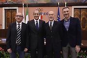 ROMA 20 GENNAIO 2016<br /> PRESENTAZIONE NUOVO CT DELLA NAZIONALE ITALIANA DI BASKET ETTORE MESSINA NELLA FOTO CON DALMONTE CONSOLINI CUZZOLIN<br /> Foto Ciamillo