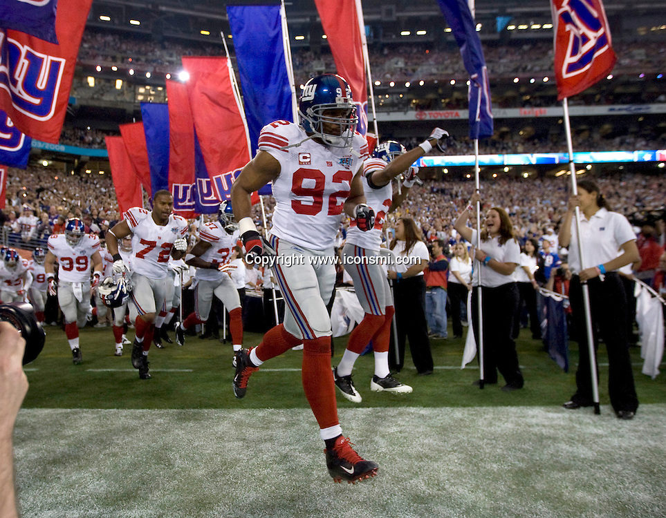 New England Patriots against New York Giants MICHAEL STRAHAN during Super Bowl XLII  on Feb. 3, 2008 in Glendale, AZ.