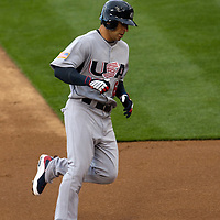 22 March 2009: #6 Brian Roberts of USA runs the bases after hitting a solo homerun in the first inning during the 2009 World Baseball Classic semifinal game at Dodger Stadium in Los Angeles, California, USA. Japan wins 9-4 over Team USA.