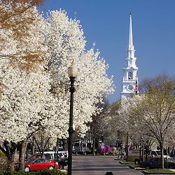 Downtown Keene New Hampshire in spring USA