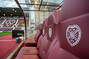 General view inside Tynecastle Park, Edinburgh, Scotland before the Betfred Scottish Football League Cup quarter final match between Heart of Midlothian FC and Aberdeen FC on 25 September 2019.