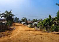 KYAING TONG, MYANMAR - CIRCA DECEMBER 2017:  Street in  Pin Tauk village Lahu tribe in Kyaing Tong.