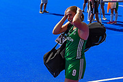 Kathryn Mullan captain of Ireland (9) can hardly believe her team has won during the Vitality Hockey Women's World Cup 2018 Semi-Final match between Ireland and Spain at the Lee Valley Hockey and Tennis Centre, QE Olympic Park, United Kingdom on 4 August 2018. Picture by Martin Cole.