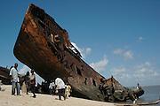 A shipwreck on Beira Beach..Beira, Mozambique, Africa.© Demelza Cloke