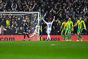 Ezgjan Alioski of Leeds United (10) scores a goal to make the score 4-0 during the EFL Sky Bet Championship match between Leeds United and West Bromwich Albion at Elland Road, Leeds, England on 1 March 2019.