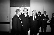16/11/1966<br /> 11/16/1966<br /> 16 November 1966<br /> O'Brien Plastics Ltd., Bishopstown, Cork reception at the Intercontinental Hotel, Dublin to announce that Phillips Petroleum Company, Oklahoma U.S.A had acquired a 50% interest in O'Brien Plastics. Picture Shows (l-r):  Mr. William O'Brien;  Taoiseach Jack Lynch T.D. and Mr. Edwin Van Den Bark, Vice President, Phillips Petroleum Co. at the reception.