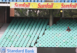 A lone fan sits during day four of the first test match between South Africa and New Zealand held at the Kingsmead stadium in Durban, KwaZulu Natal, South Africa on the 22nd August 2016<br /> <br /> Photo by:   Anesh Debiky / Real Time Images