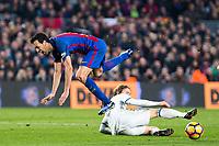 Real Madrid's Luka Modric, FC Barcelona's Sergio Busquets during spanish La Liga match between Futbol Club Barcelona and Real Madrid  at Camp Nou Stadium in Barcelona , Spain. Decembe r03, 2016. (ALTERPHOTOS/Rodrigo Jimenez)