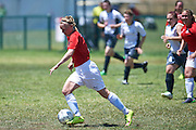 SO Denmark athlete fights for the ball with SO Germany athlete while football women match 7-a-side during fourth day of the Special Olympics World Games Los Angeles 2015 on July 28, 2015 in Los Angeles, USA.<br /> USA, Los Angeles, July 28, 2015<br /> <br /> Picture also available in RAW (NEF) or TIFF format on special request.<br /> <br /> For editorial use only. Any commercial or promotional use requires permission.<br /> <br /> Adam Nurkiewicz declares that he has no rights to the image of people at the photographs of his authorship.<br /> <br /> Mandatory credit:<br /> Photo by &copy; Adam Nurkiewicz / Mediasport