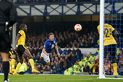 Phil Jagielka of Everton scores a goal to make it 2-0 - Photo mandatory by-line: Rogan Thomson/JMP - 07966 386802 - 06/11/2014 - SPORT - FOOTBALL - Goodison Park, Liverpool - Everton v LOSC Lille Metropole - UEFA Europa League Group H.