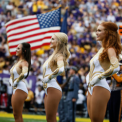 Sep 8, 2018; Baton Rouge, LA, USA; The LSU Tigers Golden Girls stand during the playing of the national anthem before a game against the Southeastern Louisiana Lions at Tiger Stadium. Mandatory Credit: Derick E. Hingle-USA TODAY Sports