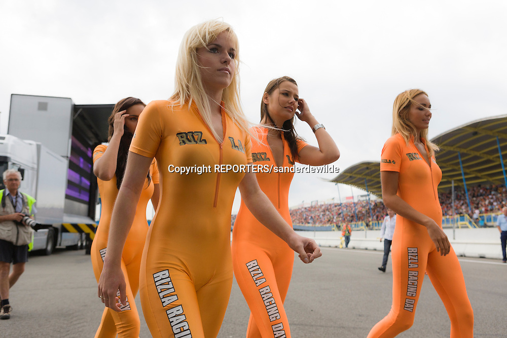 2008-08-03 Josje Huisman as a model for Rizla cigarettes on the TT circuit in Assen, Netherlands. She is now the girlfriend of studio 100 boss Gert Verhulst, and member of girlsgroup K3. REPORTERS/SANDERDEWILDE