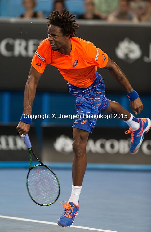 Gael Monfils (FRA)<br /> <br />  - Australian Open 2015 -  -  Melbourne Park Tennis Centre - Melbourne - Victoria - Australia  - 20 January 2015. <br /> &copy; Juergen Hasenkopf