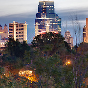 Downtown Kansas City, Missouri skyline and skyscrapers at sunrise taken from Observation Park in the West Side neighborhood.