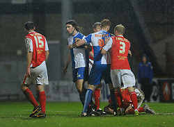 Bristol Rovers' John-Joe OToole walks away after appearing to stamp on Morecambe's Andrew Wright - Photo mandatory by-line: Dougie Allward/JMP - Tel: Mobile: 07966 386802 14/12/2013 - SPORT - Football - Morecombe - Globe Arena - Morecombe v Bristol Rovers - Sky Bet League Two