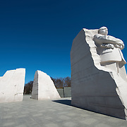 The main statue at the heart of the Martin Luther King Jr Memorial (or MLK Memorial) stands out against deep blue skies on a crisp winter morning.