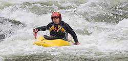An unidentified whitewater kayaker uses hand paddles to kayak through the rapids at Sweet's Falls on the Gauley River during American Whitewater's Gauley Fest weekend. The upper Gauley, located in the Gauley River National Recreation Area is considered one of premier whitewater rivers in the country.