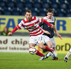 Hamilton's Anthony Andreu and Falkirk's Conor McGrandles.<br /> Falkirk 0 v 0 Hamilton, Scottish Championship game at The Falkirk Stadium. &copy; Michael Schofield 2014.