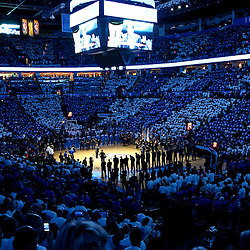 Jun 14, 2012; Oklahoma City, OK, USA; A general view before tip off of game two in the 2012 NBA Finals between the Oklahoma City Thunder and the Miami Heat at Chesapeake Energy Arena. Mandatory Credit: Derick E. Hingle-US PRESSWIRE