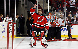 November 28, 2007; Newark, NJ, USA;  New Jersey Devils goalie Martin Brodeur (30) waves to the crowd as he is honored for his 500th win before the first period of the Devils game against the Dallas Stars at the Prudential Center in Newark, NJ.