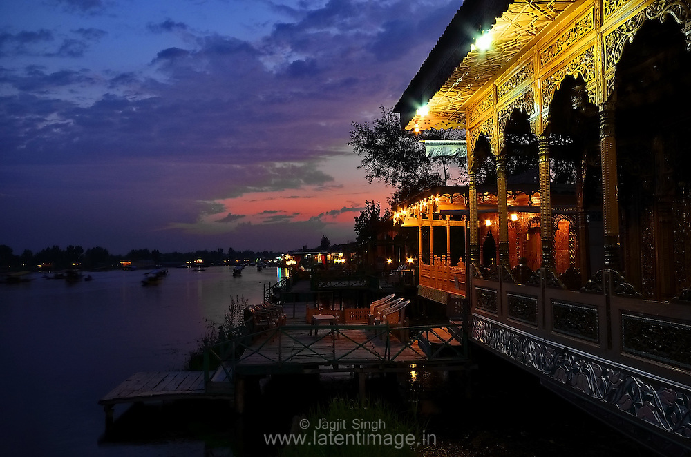 Houseboats during evening hours. Houseboats are one of the major attractions in Dal Lake, Srinagar, India.