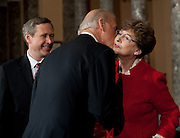 Nov 29, 2010 - Washington, District of Columbia, U.S. - Vice President JOE BIDEN greets Sen.-Elect MARK KIRK's, (R-IL) mother JUDY KIRK on Monday, during a re-enactment of the swearing-in at the Old Senate Chamber in the U.S. Capitol..(Credit Image: © Pete Marovich/ZUMA Press)